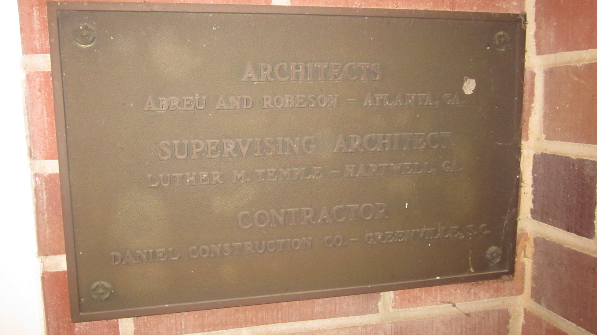 Architecture Plaque For COBB Memorial Hospital
